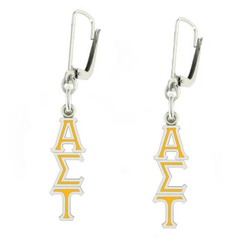 Sterling Silver Alpha Sigma Tau Enamel Lavaliere Earrings