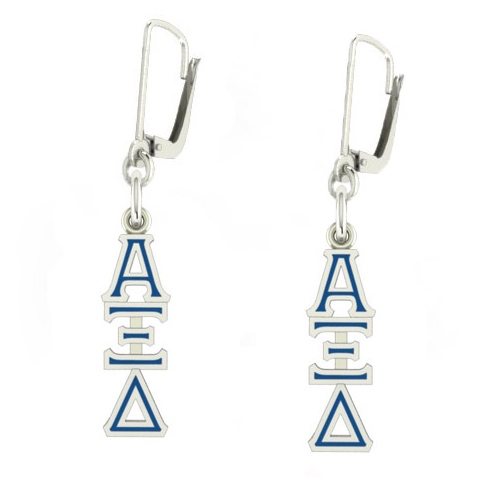 Sterling Silver Alpha Xi Delta Enamel Lavaliere Earrings