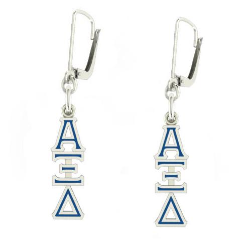 Sterling Silver Alpha Xi Delta Enamel Lavaliere Earrings