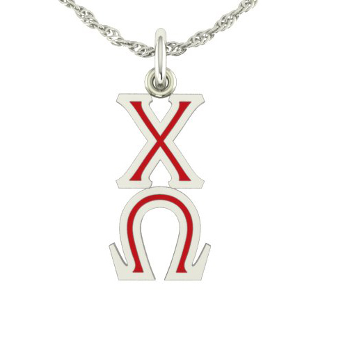 Sterling Silver Chi Omega Lavaliere Necklace