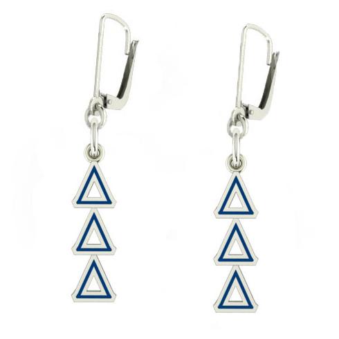 Sterling Silver Delta Delta Delta Enamel Lavaliere Earrings