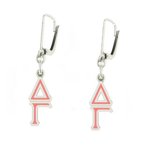 Sterling Silver Delta Gamma Enamel Lavaliere Earrings