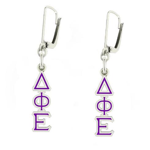 Sterling Silver Delta Phi Epsilon Enamel Lavaliere Earrings