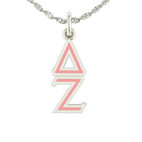 Sterling Silver Delta Zeta Lavaliere Necklace
