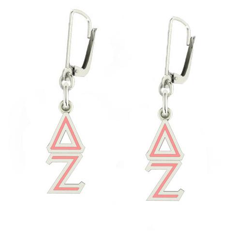 Sterling Silver Delta Zeta Enamel Lavaliere Earrings