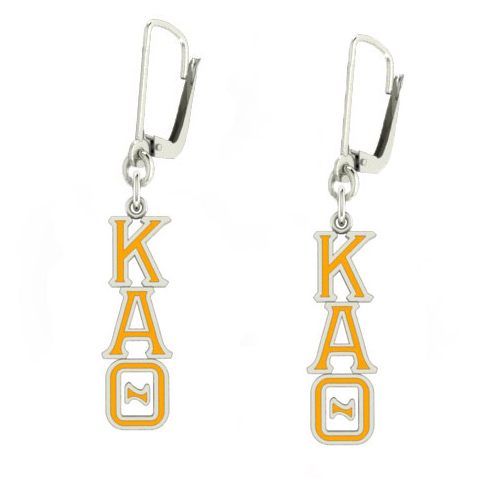 Sterling Silver Kappa Alpha Theta Enamel Lavaliere Earrings