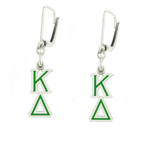 Sterling Silver Kappa Delta Enamel Lavaliere Earrings
