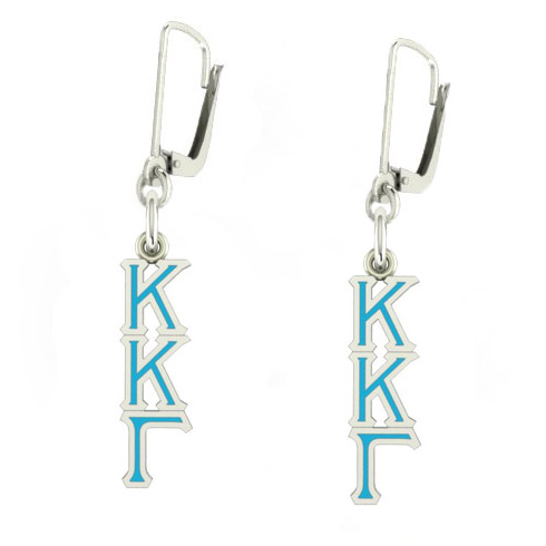 Sterling Silver Kappa Kappa Gamma Enamel Lavaliere Earrings