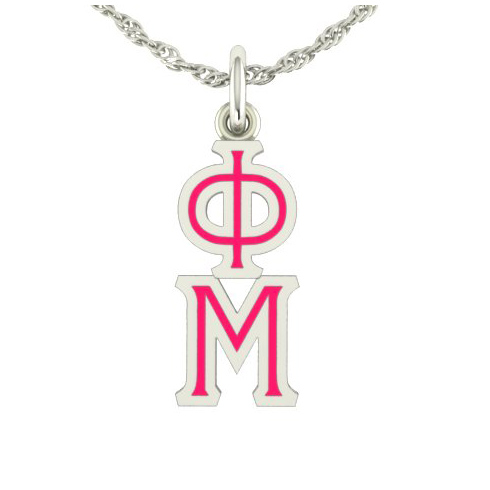 Sterling Silver Phi Mu Lavaliere Necklace
