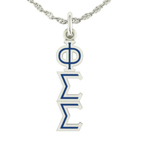Sterling Silver Phi Sigma Sigma Lavaliere Necklace