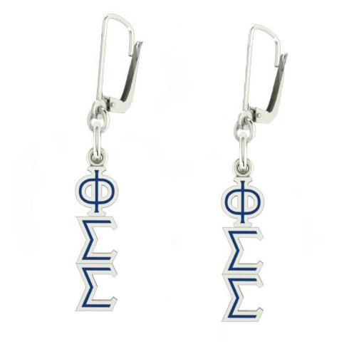 Sterling Silver Phi Sigma Sigma Enamel Lavaliere Earrings