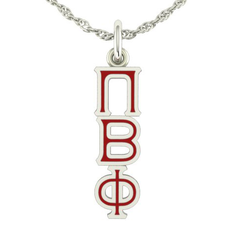 Sterling Silver Pi Beta Phi Lavaliere Necklace