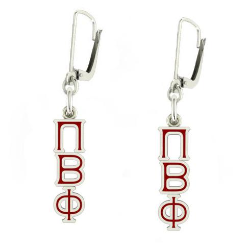 Sterling Silver Pi Beta Phi Enamel Lavaliere Earrings