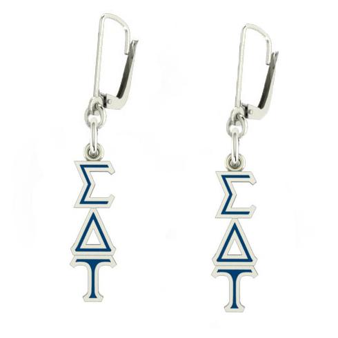 Sterling Silver Sigma Delta Tau Enamel Lavaliere Earrings