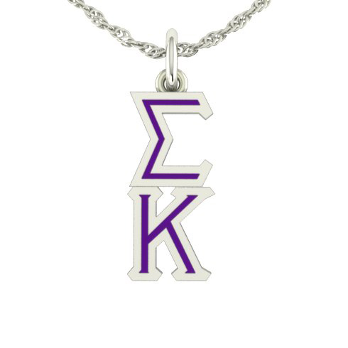 Sterling Silver Sigma Kappa Lavaliere Necklace