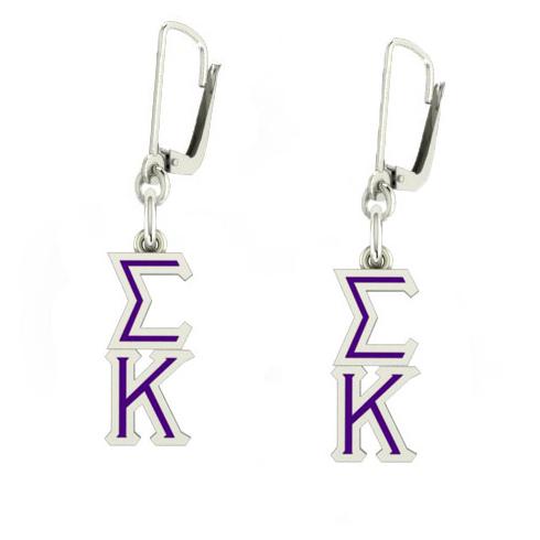 Sterling Silver Sigma Kappa Enamel Lavaliere Earrings