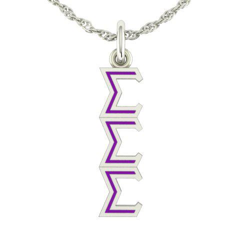 Sterling Silver Sigma Sigma Sigma Lavaliere Necklace