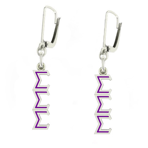 Sterling Silver Sigma Sigma Sigma Enamel Lavaliere Earrings