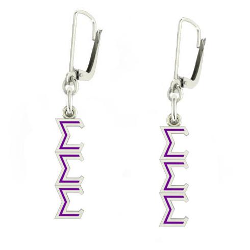 Sterling Silver Sigma Sigma Sigma Enamel Lavaliere Earrings