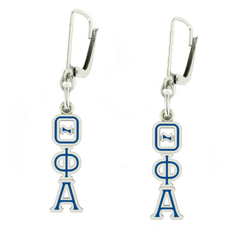 Sterling Silver Theta Phi Alpha Enamel Lavaliere Earrings