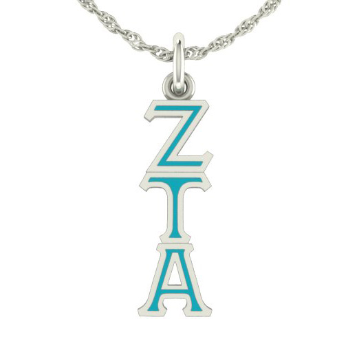 Sterling Silver Zeta Tau Alpha Lavaliere Necklace