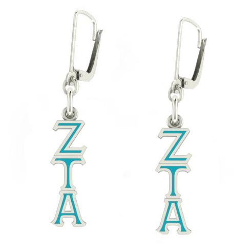 Sterling Silver Zeta Tau Alpha Enamel Lavaliere Earrings