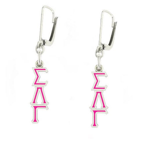Sterling Silver Sigma Lambda Gamma Enamel Lavaliere Earrings
