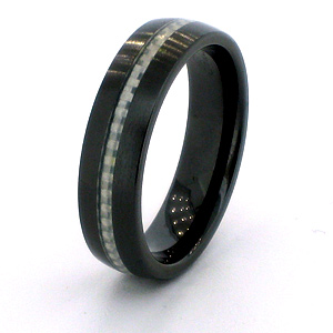 6mm Domed Black Ceramic Ring with Carbon Fiber Inlay