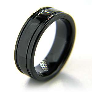 7mm Flat Black Ceramic Ring with Channels