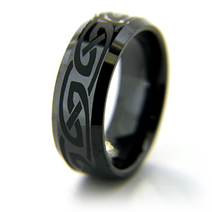 8mm Flat Black Ceramic Beveled Edge Ring Knot Design