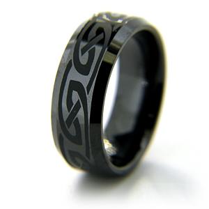 8mm Flat Black Ceramic Beveled Edge Ring Knot Design