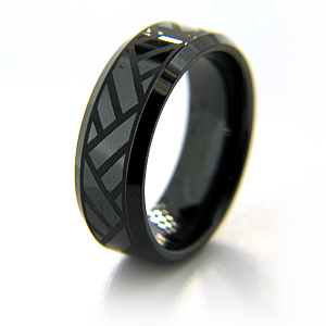 Black Ceramic Ring Volley Design with Beveled Edges 8mm