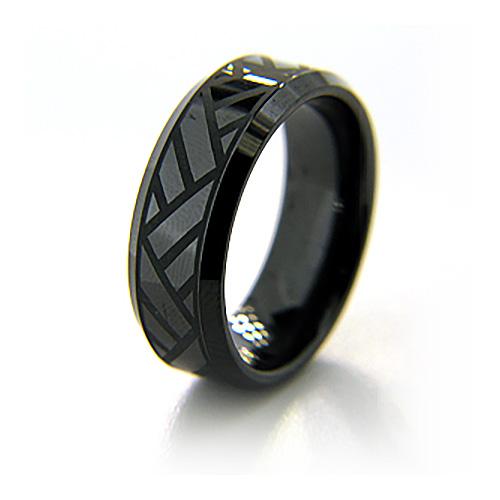 8mm Flat Black Ceramic Beveled Edge Ring Volley Design