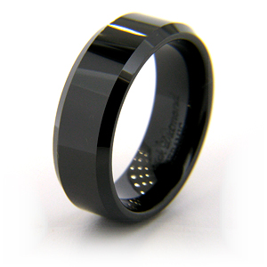 8mm Flat Black Ceramic Beveled Edge Ring