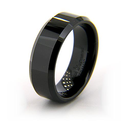 8mm Flat Black Ceramic Beveled Edge Ring