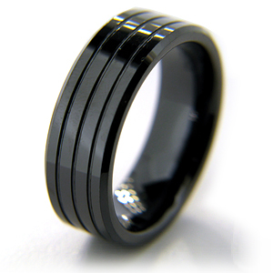 8mm Flat Black Grooved Ceramic Beveled Edge Ring