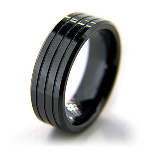 8mm Flat Black Grooved Ceramic Beveled Edge Ring