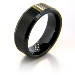 8mm Flat Black Ceramic Beveled Edge Satin Finish Ring