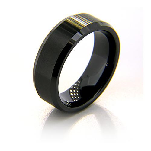 8mm Flat Black Ceramic Beveled Edge Satin Finish Ring
