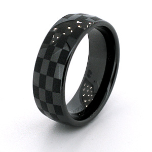 Black Ceramic 8mm Domed Ring with Checker Design