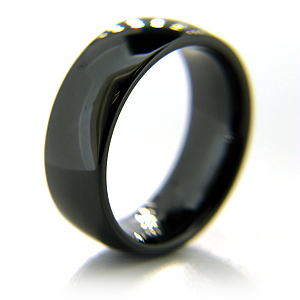 Black Ceramic 8mm Smooth Domed Ring
