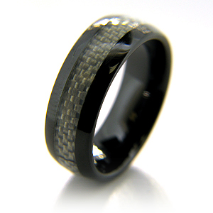 Black Ceramic 8mm Ring with Gray Carbon Fiber Inlay