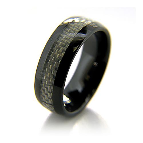 Black Ceramic 8mm Ring with Gray Carbon Fiber Inlay