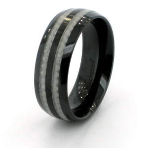 Black Ceramic 8mm Ring with Carbon Fiber Inlays
