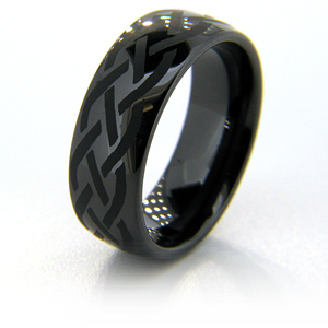 8mm Domed Black Ceramic Ring with Braid Design