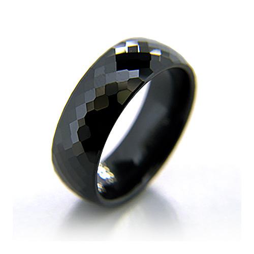 Black Ceramic 8mm Diamond Plate Ring