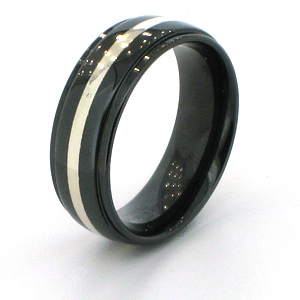 8mm Flat Black Ceramic Step Down Edge Ring with Silver Inlay