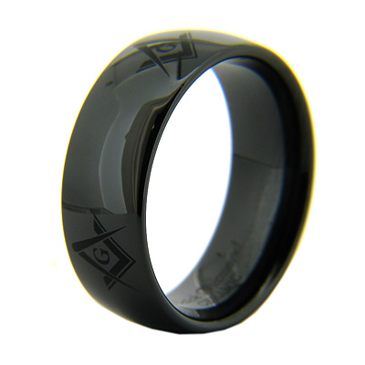 8mm Domed Black Ceramic Masonic Ring G Compass & Square Times Four