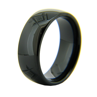 Black Ceramic 8mm Domed Masonic Ring Compass & Square Times Four