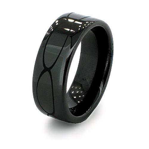 8mm Flat Black Ceramic Rounded Edge Ring Oval Design